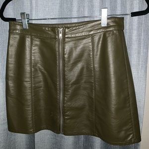 Hunter green Faux leather skirt